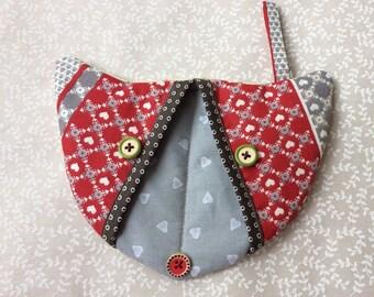 Kitchen glove - Red cat patchwork