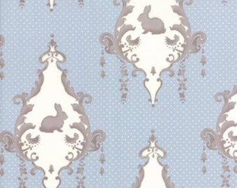 Lily and Will in Blue ... LILY and WILL REVISITED by Bunny Hill Designs  Moda  2800 22  blue and brown bunny damask