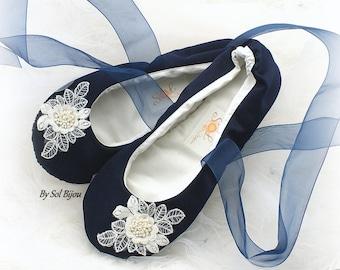 Navy Blue Flats, Ivory, Wedding Flats, Ballet Flats, Bridal, Shoes, Flats, Ballerina, Slippers, Lace Up, Flower Girl, Lace, Pearls, Elegant