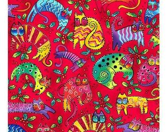 Laurel Burch Fabric Enchantment Cats on Red 1 Yard Y1963-4
