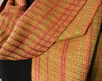 Striped Scarf, Handwoven Bronze, Burgundy, and Green Bamboo and Tencel Scarf, Autumn Woods Scarf