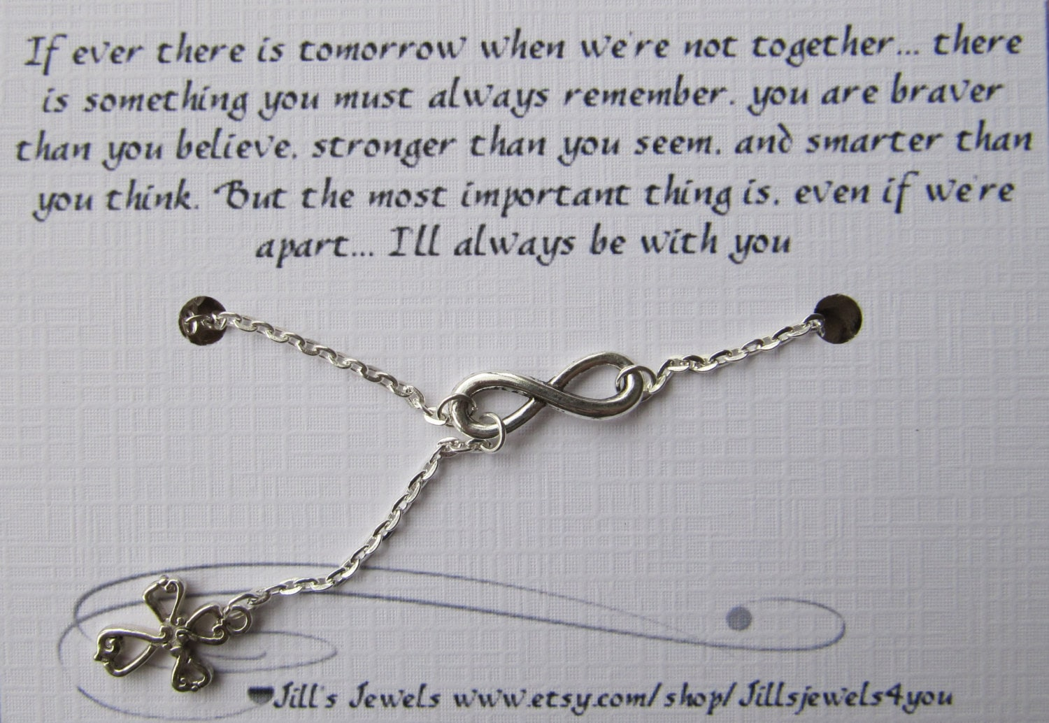 Quote About Distance And Friendship Small Infinity And Sideways Cross Necklace And Friendship