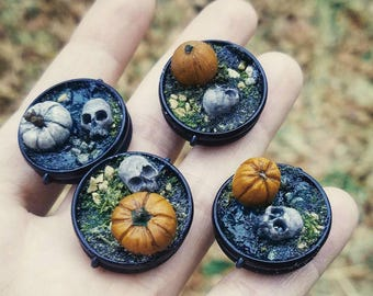 """Pumpkin and Skull Unique Artwork Pins """"Stumble Upon"""" - Handcrafted Accessories"""