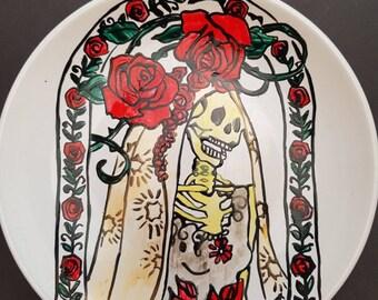 Hand painted skeleton bride wedding side plate