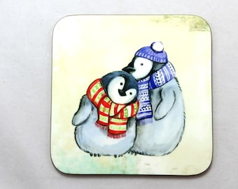 Cute Penguins Coaster, Penguins with Scarves, Penguin Gifts