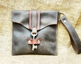 Brown Leather Clutch Wristlet  with Antique Skeleton Key - Two Tone Leather Wallet - Mini Purse