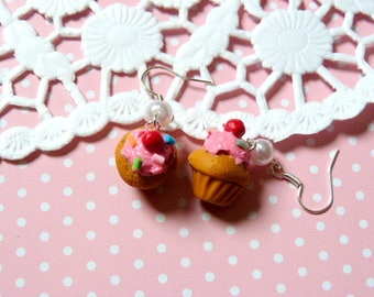 Earrings gourmet cupcake with Strawberry