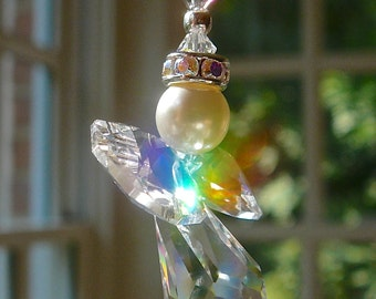 """Little Angel Car Charm with Pearls - Choose Wing Color - Swarovski Crystal Sun Catcher, Car Prism, Rearview Mirror Ornament """"LITTLEST ANGEL"""""""