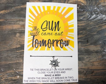 The sun will come out tomorrow wish bracelet -sun charm bracelet -sunshine wish bracelet