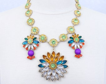 Colorful Rhinestone Necklace Flower Statement Necklace Rhinestone Floral Bib Necklace Chunky Necklace Large Flower Necklace