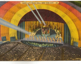 Vintage Postcard, New York City, Radio City Music Hall, 1947