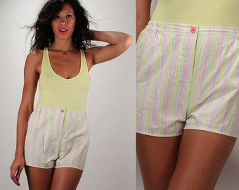 Vintage High Waist Rainbow Stripe Shorts
