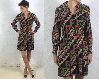 1970s Handmade Multicoloured Long Sleeved Geometric Very Bright Dress