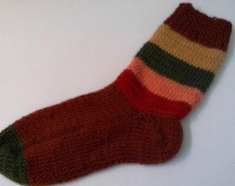 Hand Knit Alpaca , Wool Socks Women,s  Large 8-10 Autumn Leaves