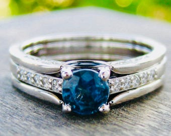 Blue Montana Sapphire Engagement Ring with Diamonds and Custom Built Wedding Band in 14K White Gold Size 7