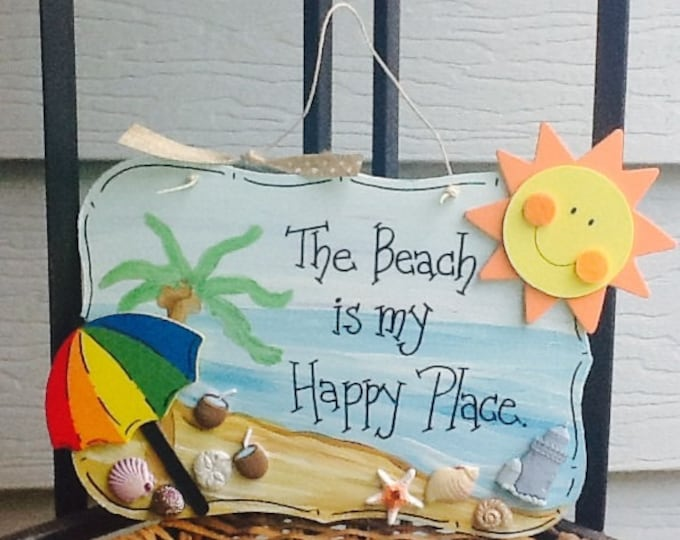 Beach sign, beach house sign, my happy place is the beach, summer sign, tropical beach house sign, summer door sign, pool sign, pool decor
