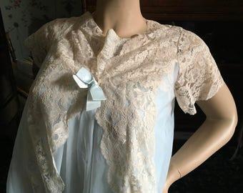 Vintage aqua  peignoir negligee set sheer nylon chiffon with mules Madye's shadowline