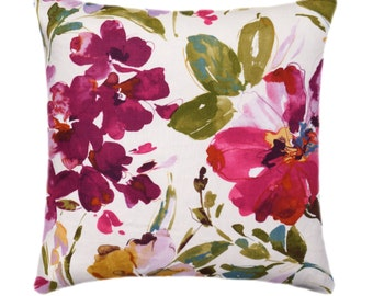 Colorful Floral Pillow Cover, Fuchsia Floral Pillow, 18 19 20 21 21 inch Floral Pillow Cover, Large Flower Pillow, Hot Pink Pillow Cover