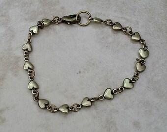 Tiny Bronze Hearts Bracelet