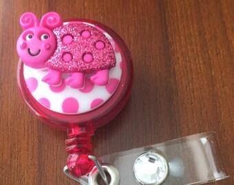 Nurse badge holder, nurse badge reel, lady bug badge holder, lady bug badge reel, gift for nurse, retractable badge reel, id badge reel