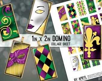 1x2 Digital Collage Sheet Domino Mardi Gras Carnival 1x2 inch Collage Sheet for Pendants Magnets Scrapbooking Journaling JPG D0053