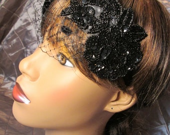 Merle Feather Sequin Fascinator with Russin Veiling, Roaring 20s, Flapper, Old Hollywood, Great Gatsby, Downton Abbey