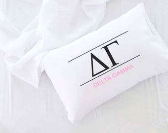 Classic Sorority Letters and Name Custom Printed Pillowcase, Delta Gamma Shown, All 26 NPC Sororities Available