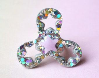 Holo Fidget Spinner Ring Jewelry // Fidget Spinners, Spinner Fidget, Fidget Ring, Silver Fidget Spinner, Fidget Toy, Kid Gifts, Teen Gifts