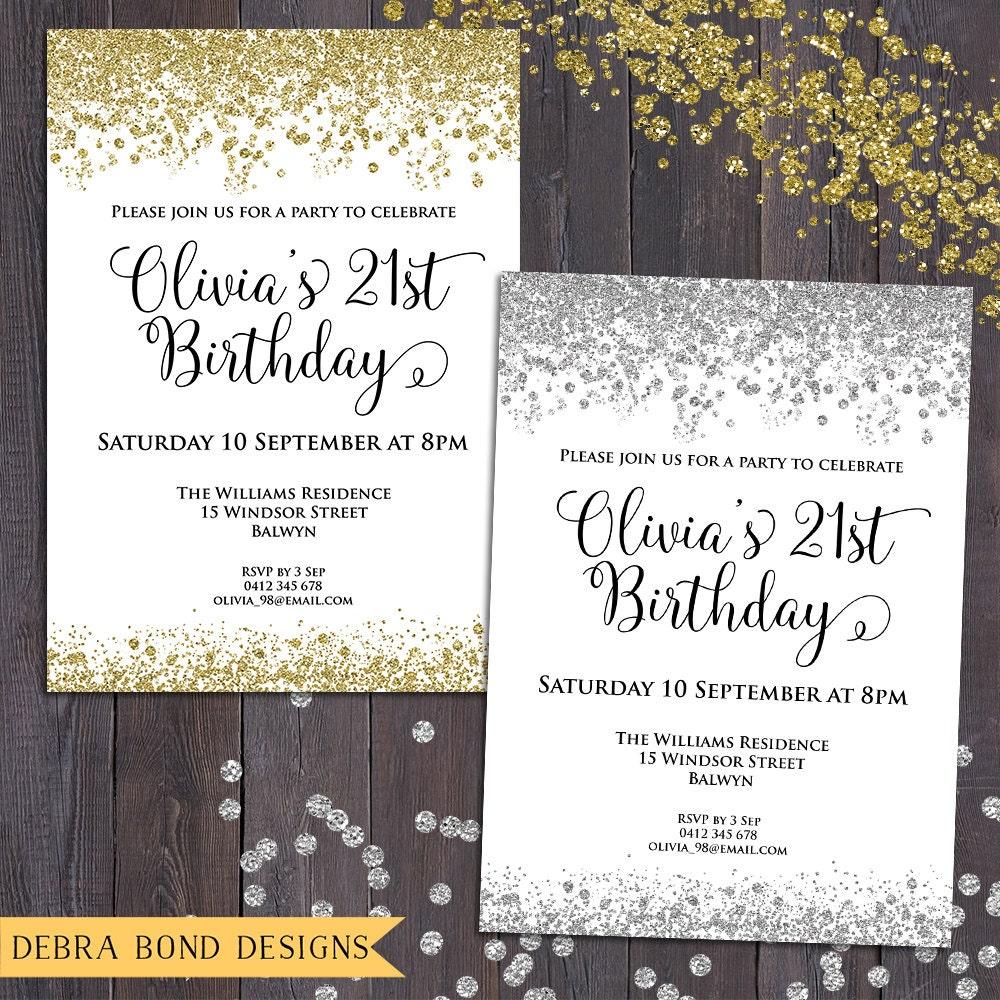Glitter confetti invitation, any occasion, any colour, digital ...