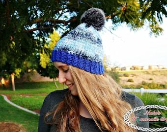 CROCHET PATTERN: Denim Blues Hat *winter *beanie *linked crochet *instant digital download