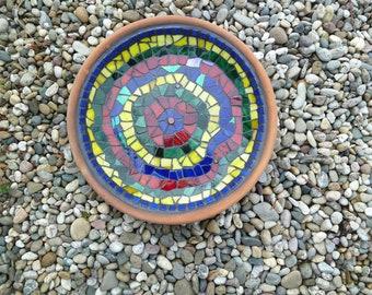 Bird potions, mosaic bowl, terracotta, fruit bowl colourful