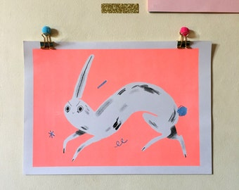 Fluoro Pink Rabbit- A4 Limited Edition Risograph Print