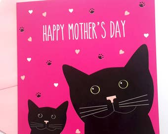 Black Cat Mother's Day Card - Black cat and kitten- Happy Mother's Day