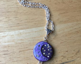 Full Moon Crescent Moon Necklace, Purple + Gold Glitter Stars w/ Amythest Cage Crystal