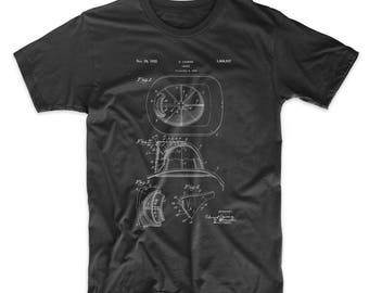 Fireman's Helmet Patent T Shirt, Firefighter Gift, Fireman Shirt, Firefighter Wife, PP0030