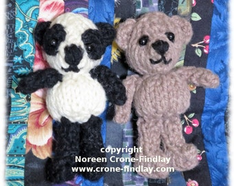 Knitted Teddy Bear PDF Pattern: Findlay Bear & Flora Panda- Cute Tiny Pocket Bears to Knit