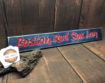 HAND CARVED/Boston Red Sox Fan Wood Sign/Boston Wooden Sign/Hand Carved Sign/Handmade Wooden Sign/Sports Sign/Baseball Wood Sign
