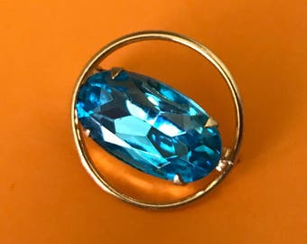 Pretty Aquamarine Faceted Rhinestone Scatter Pin