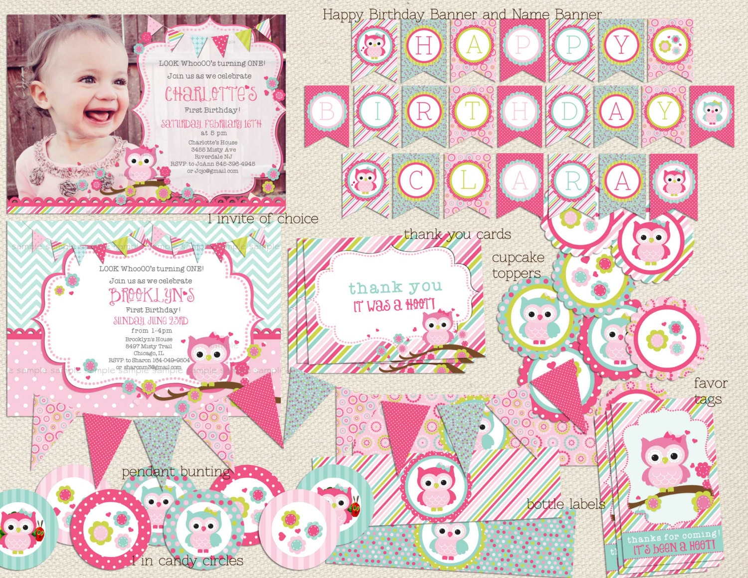 Owl birthday invitation and Owl Party Package Look