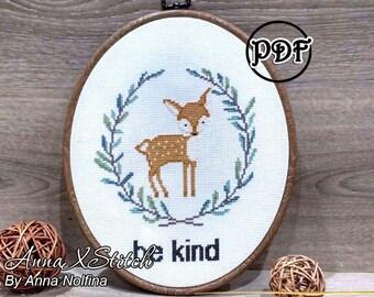 Be kind deer cross stitch pattern Baby cross stitch pattern Deer cross stitch deer Nursery cross stitch Woodland animals cross stitch birth