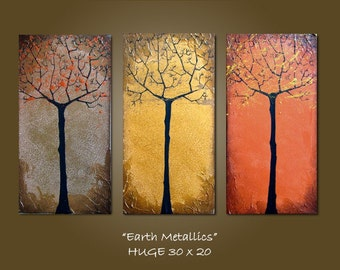 Custom Earth Metallics - 30 x 20, Textured Acrylic painting canvas, gallery wrapped ready to hang, ORIGINAL