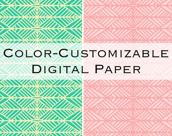Color-Customizable Digital Paper Pack | Triangle Stripes