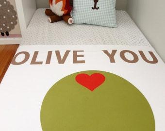 Olive You - Baby Blanket - Baby Shower - Nursery Decor -  Gender Neutral - Gift - Valentines Day - Valentines gift