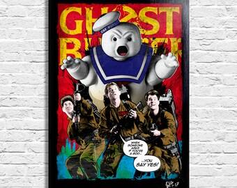 Ghostbusters (1984, Bill Murray, Dan Aykroyd, Harold Ramis) - Original framed fine art painting, poster, canvas, artwork, pop art