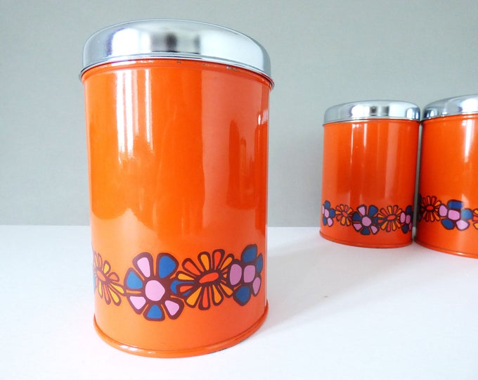 Metal storage tin by Brabantia flower power Vintage