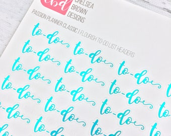 Foiled Flourish To-Do List Headers   Passion Planner Stickers for the Classic Pro and Compact Size