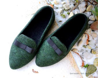 Pointy Flats Stylish Felted Slippers Women Felted slippers Green Slip-on Shoes Flat Ballerinas Rubber Soles Mom life present Fairytale-gift