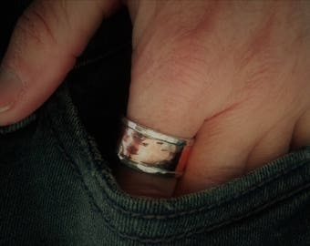 Man vintage ring in silver and copper