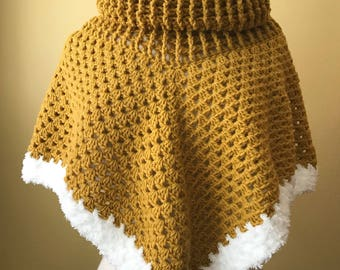 Crocheted Cowl Neck Poncho. Mustard. Gold. Granny Square. Ribbed.