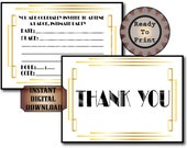 Invite & Thank You Note Card Set ~ White Black Gold Printable Party Invitation ~ Roaring 20s Gatsby Flapper Speakeasy Prohibition Wedding